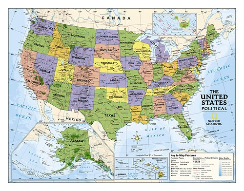 Political U.S. Map for Kids