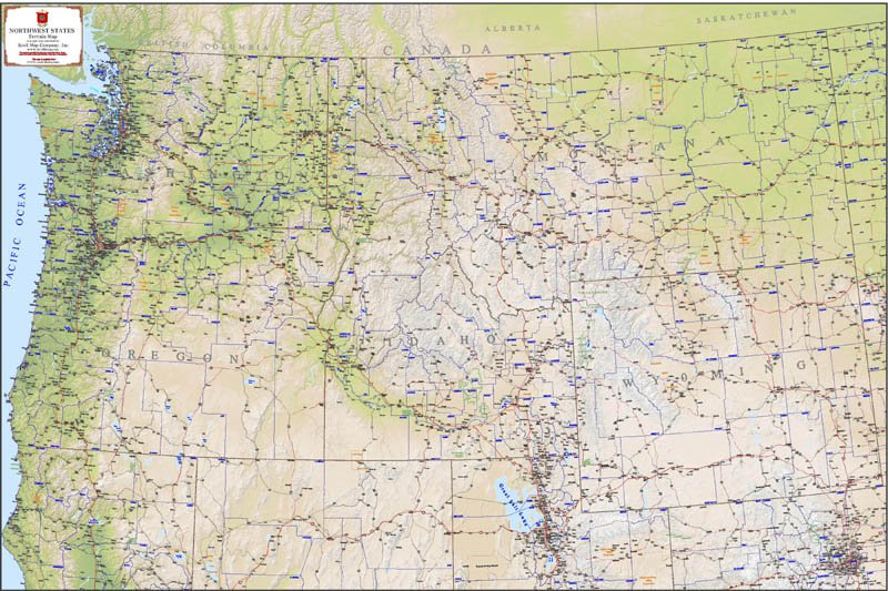 Pacific Northwest Terrain Map