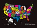 United States Nickname Map by Powerslide
