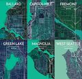 Seattle Neighborhood Map Prints by Point Two
