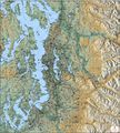 Greater Puget Sound Terrain (Shaded Relief) Map by Kroll Map Company
