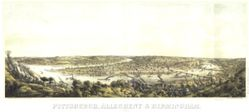 Antique Map of Pittsburgh, PA 1871