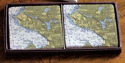 Nautical Chart Coaster Set - Seattle & Elliott Bay, 2 pack