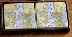 Nautical Chart Coaster Set - Seattle & Bainbridge Island, 2 pack