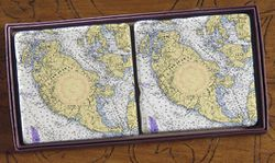 Nautical Chart Coaster Set - San Juan Island, 2 pack