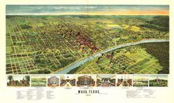 Antique Map of Waco, TX 1892