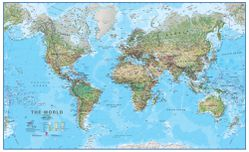 Physical World Map Blue Ocean by Round World Products
