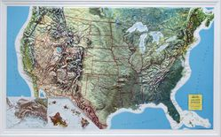 USA Raised Relief Map - Rand Geophysical Version