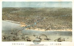 Antique Map of Chicago, IL 1868