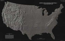 Landforms of the United States Wall Map by USGS