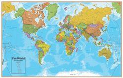 World Map Small Laminated Blue Ocean