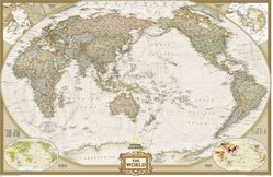Pacific Centered World Map - Executive by National Geographic