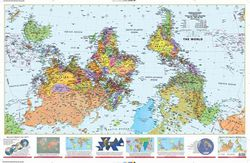 Upside Down World Map - What's up? SOUTH!
