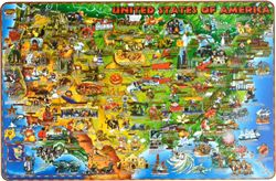 USA Placemat Dinos Illustrated