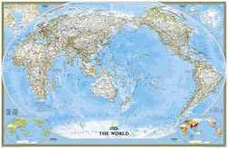 Pacific Centered World Map by National Geographic