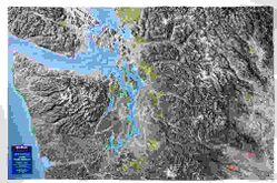 Seattle Washington / Pacific Northwest Raised Relief Map