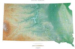 South Dakota State Wall Map l Raven Maps