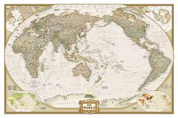 Framed World Map: Executive World Map, Pacific Centered