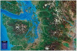 Seattle, Pacific Northwest Raised Relief Map