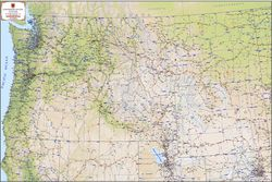 Northwest States Terrain Map by Kroll Map