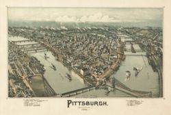 Antique Map of Pittsburgh, PA 1902