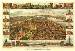 Antique Map of Harrisburg, PA 1855
