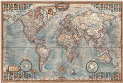 Executive World Wall Map by Rayworld, Antique Style