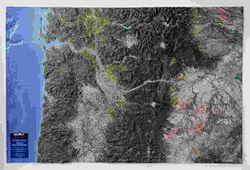 Portland, Oregon; Pacific Northwest Raised Relief Map
