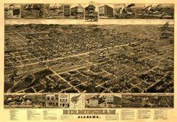 Antique Map of Birmingham, AL 1885