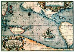 Antique Map of the Pacific Ocean 1589