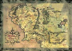 Map of Middle Earth - Gold Finish