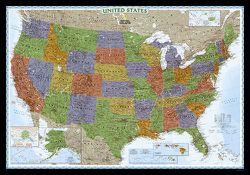Framed U.S. Map: United States Decorator Map