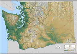 Washington State Terrain Map by Kroll Map