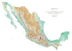 Mexico Wall Map with shaded relief by Raven
