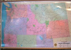 Pacific Northwest Wall Map by Pittmon/ Oregon Blue Print