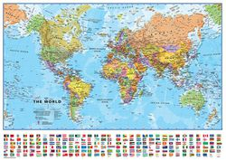 Political world map large world map paper or laminated mega world map with country flags blue ocean gumiabroncs