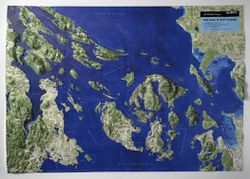 San Juan Islands & Gulf Islands, Washington/BC Raised Relief Map
