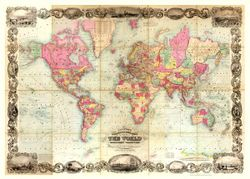 1854 World Map Antique Reproduction