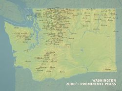 Washington 2,000' Prominence Peaks Map by Best Maps Ever