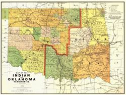 Antique Map of Oklahoma, Indian Territories 1892