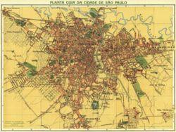 Antique Map of Sao Paulo Brazil 1913