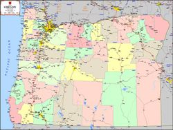 Oregon Wall Map by Kroll Map Company