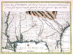 Antique Map of Georgia, Gulf Coast and Mississippi 1748
