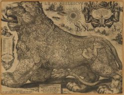 Antique Map of Western Europe / Belgium & The Netherlands from 1611 - Leo Belgicus