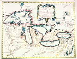 Antique Map of the Great Lakes 1755