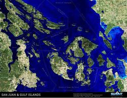 San Juan Islands & Gulf Islands Raised Relief Map