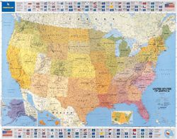 usa political wall map by michelin