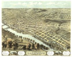 Antique Map of Lafayette, IN 1868