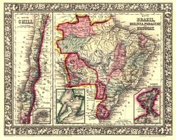 Antique Map of South America 1865