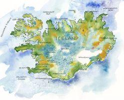 Iceland Watercolor Map Print l Elizabeth Person
